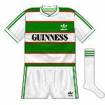 1984-85 Home:  First-ever kit worn by Cork City FC, with the adidas logo on the left breast rather than the more traditional right.