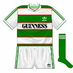 1984-85 Home: Green-socked variation of initial kit.