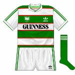 1984-86 Home: Club's first crest added to original home design, initally worn with white shorts and green socks.