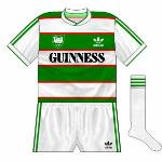 1984-86 Home: White shorts and white socks. Green shorts and green socks were not worn with the crested shirts, apparently.